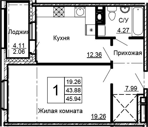 1-к.кв, 45.94 м²