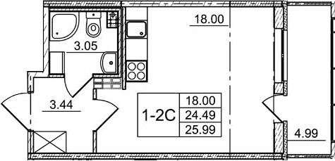 Студия, 29.48 м²