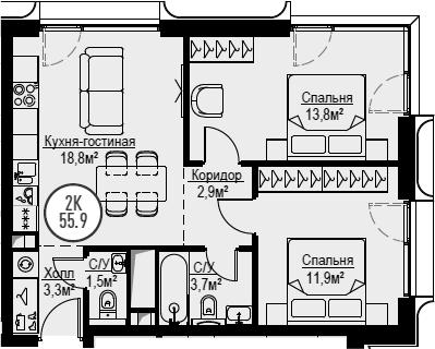 3Е-к.кв, 55.9 м², 16 этаж