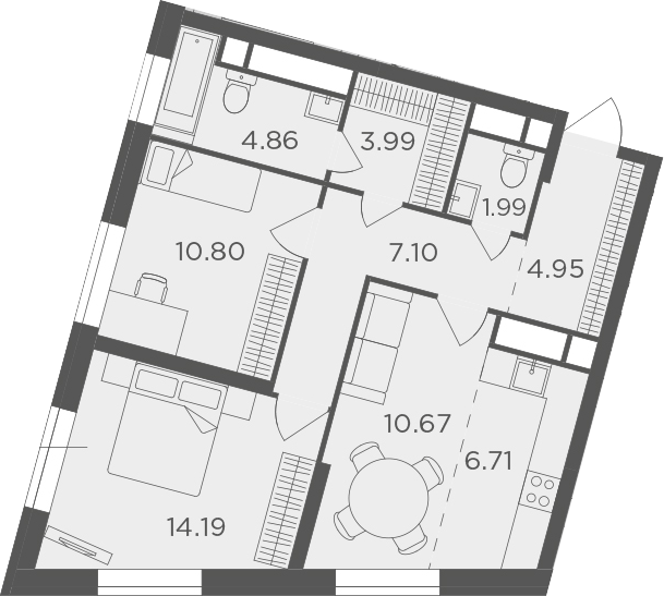 2-к.кв, 65.26 м²