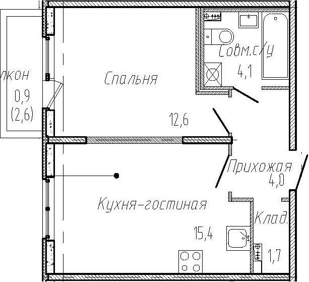 2-к.кв (евро), 40.4 м²