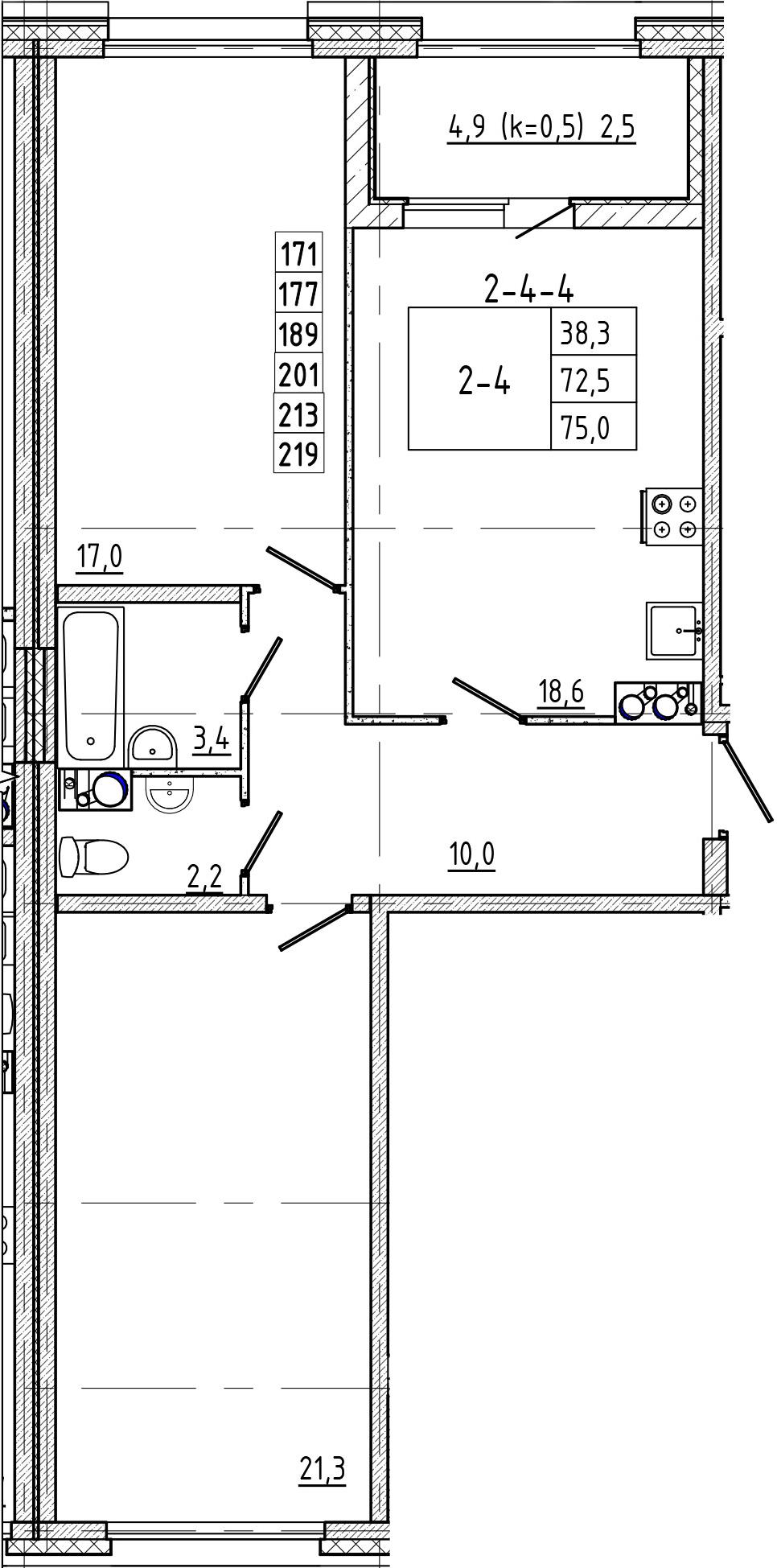 3Е-к.кв, 75 м²