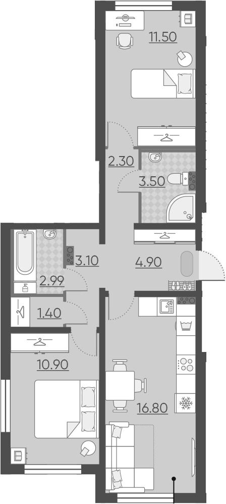 3Е-комнатная квартира, 57.39 м², 1 этаж – Планировка