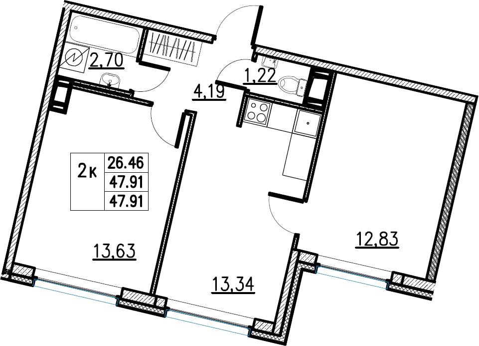 2-комнатная, 47.91 м²– 2
