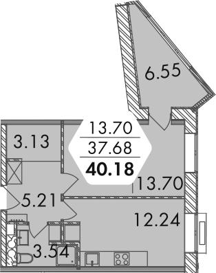 1-комнатная, 41.1 м²– 2