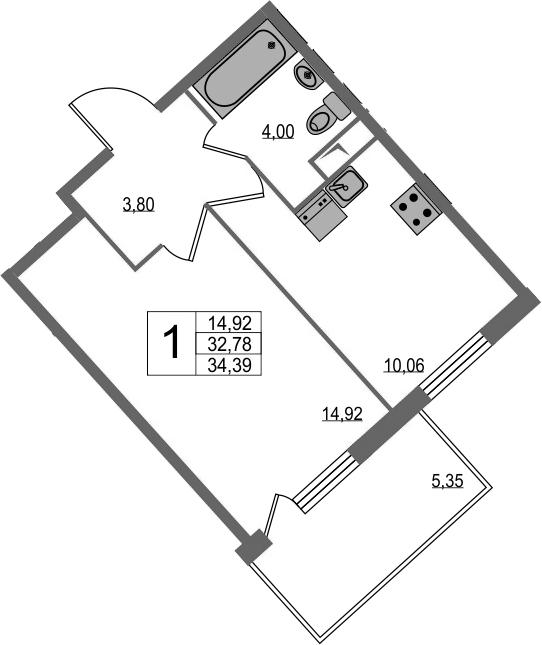1-к.кв, 38.14 м²