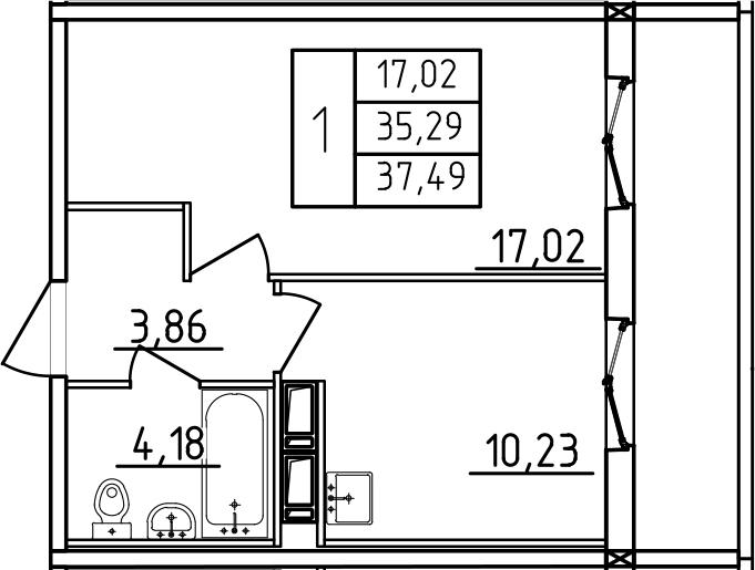 1-к.кв, 37.49 м², от 3 этажа