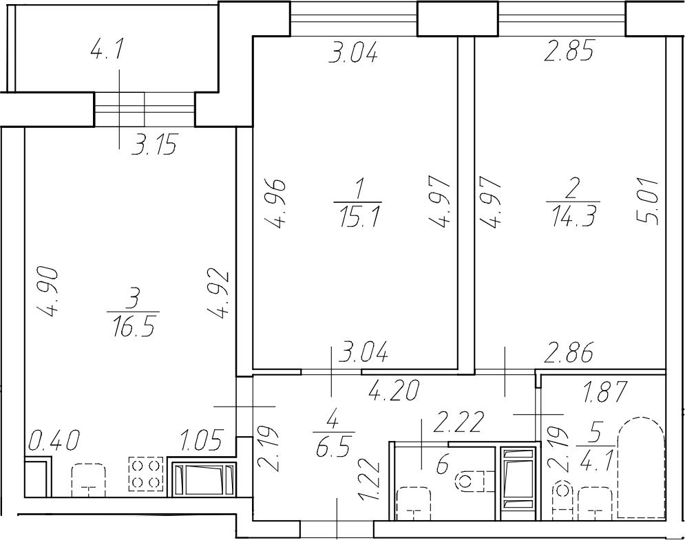 3Е-комнатная, 58.2 м²– 2