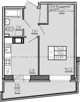 1-комнатная квартира, 33.77 м², 8 этаж – Планировка