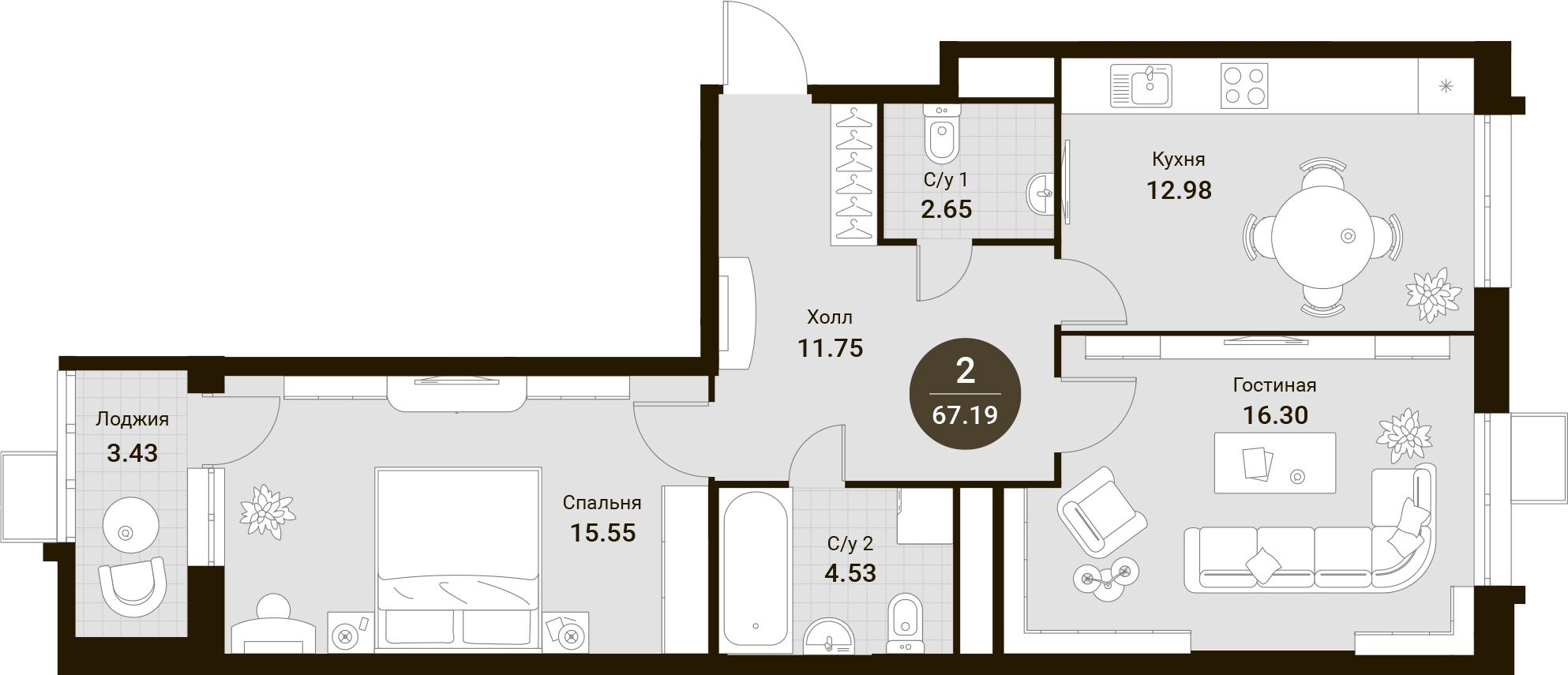 2-комнатная, 67.19 м²– 2