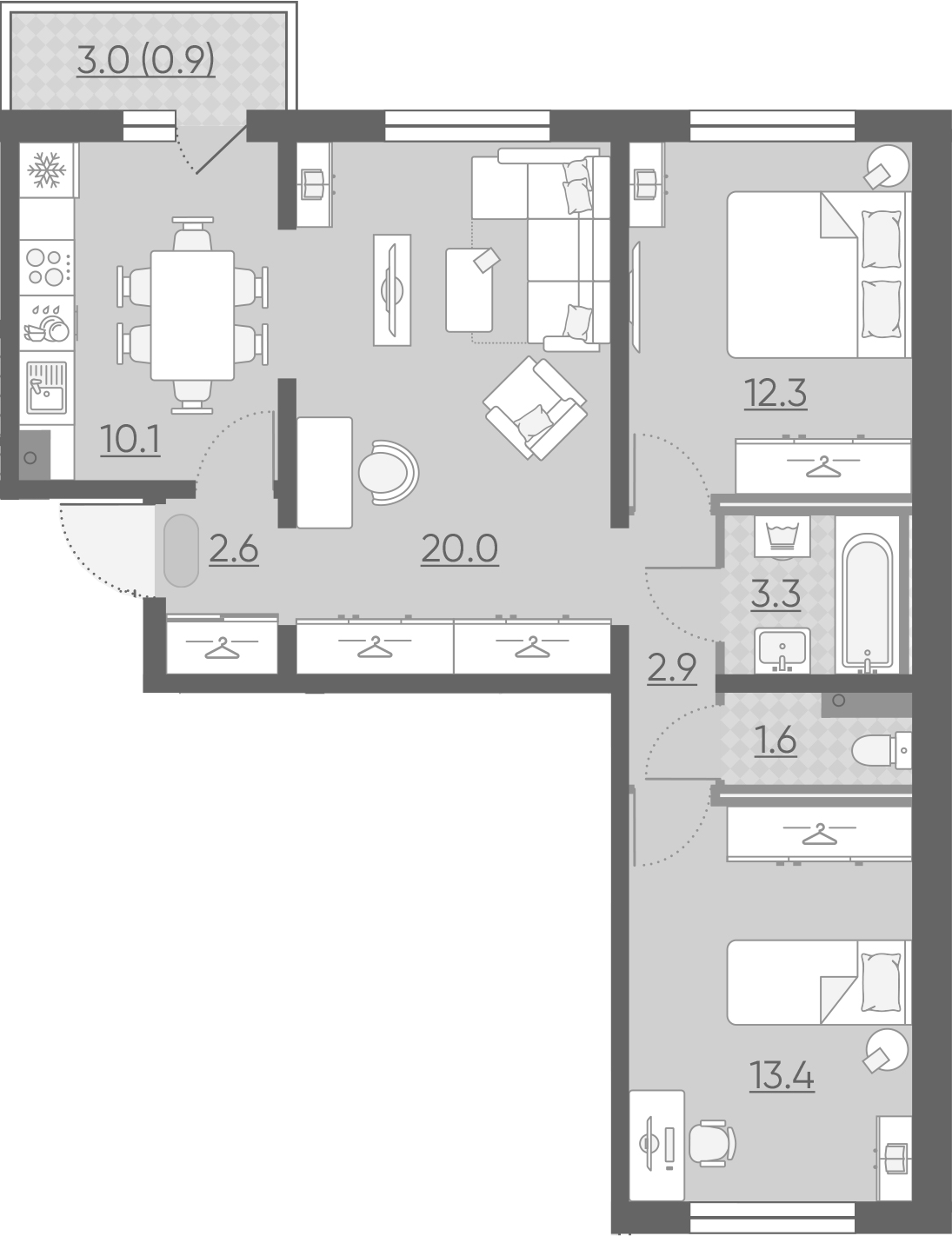 3-к.кв, 67.1 м²