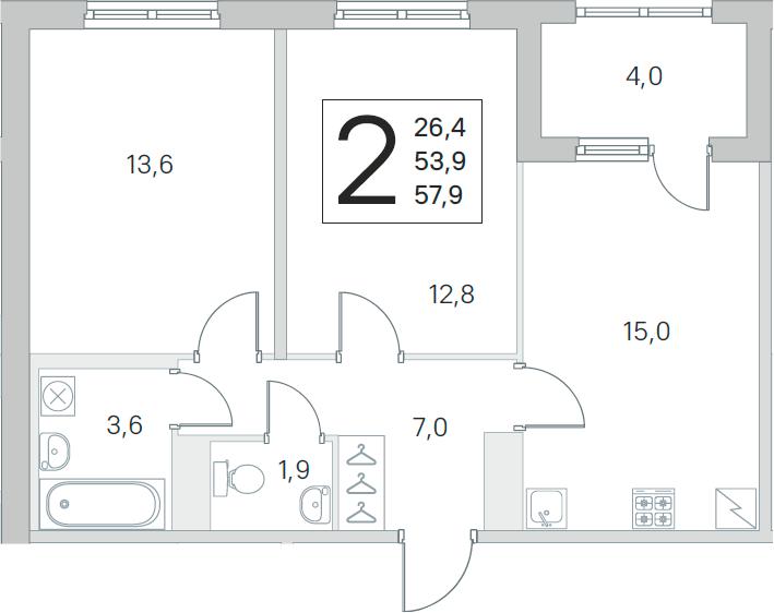 3Е-к.кв, 53.9 м², 5 этаж