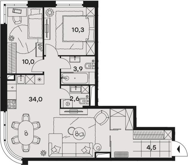 3-к.кв (евро), 65.3 м²