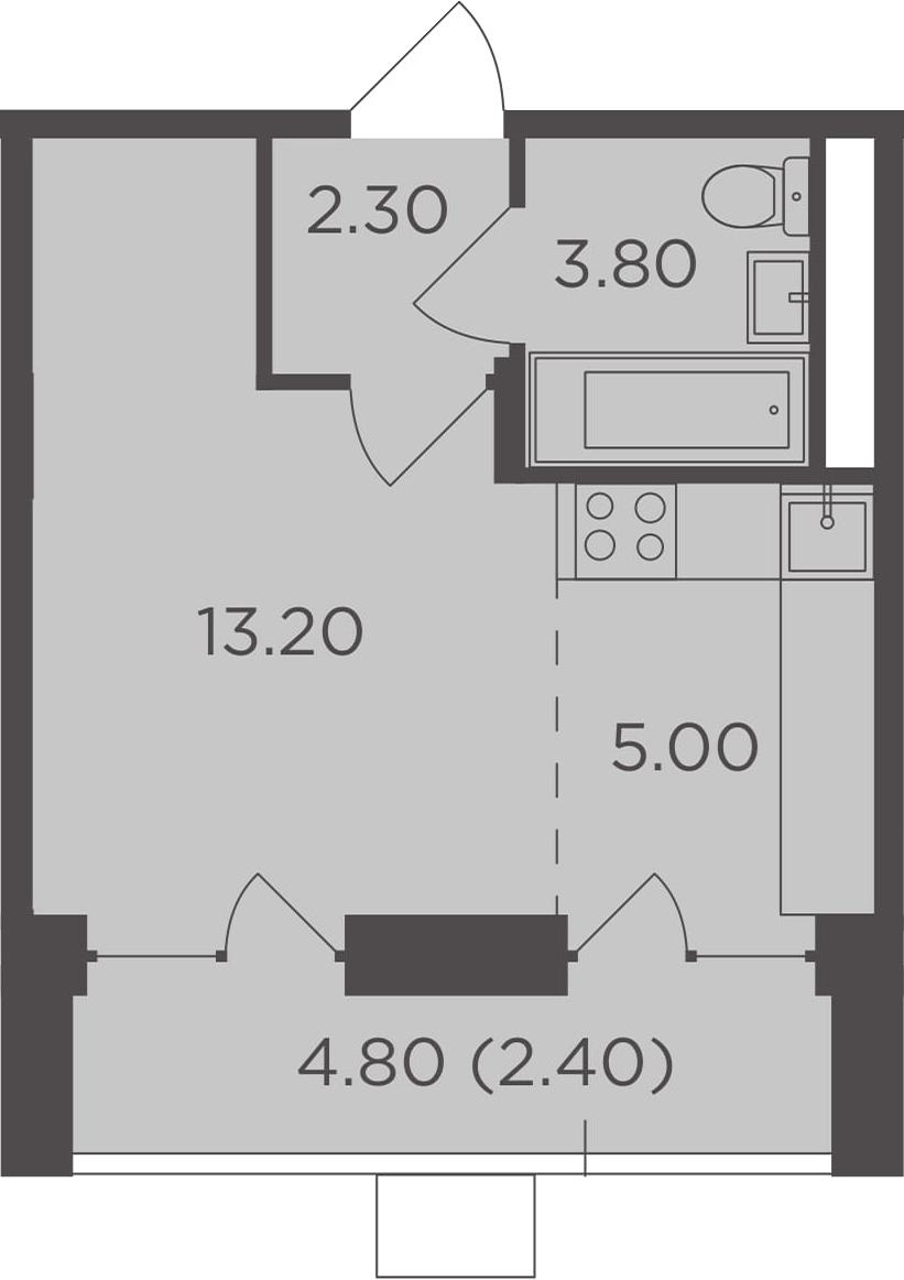 Студия, 29.1 м²