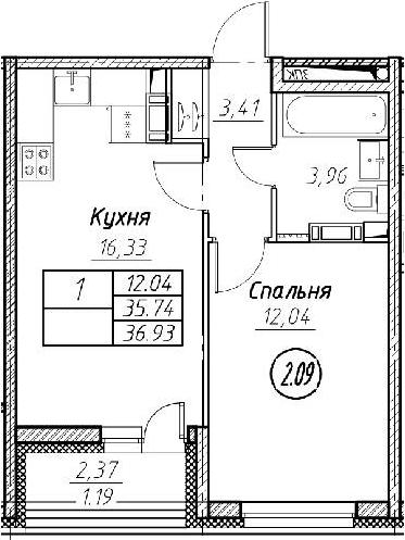 2Е-к.кв, 36.93 м², от 2 этажа
