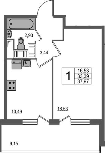 1-комнатная, 37.97 м²– 2
