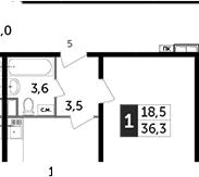 1-комнатная, 36.3 м²– 2