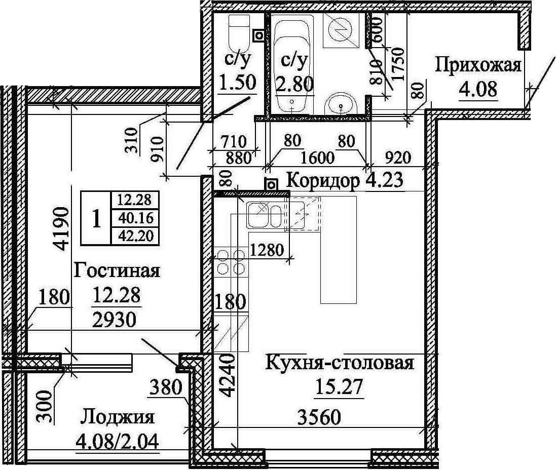 2Е-комнатная, 42.2 м²– 2