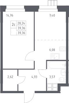 2Е-к.кв, 39.4 м², 8 этаж