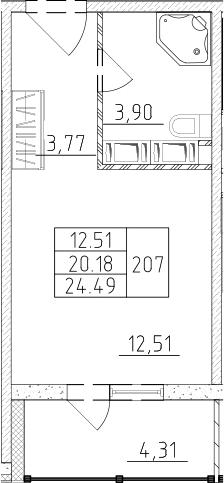 Студия, 22.33 м², от 15 этажа