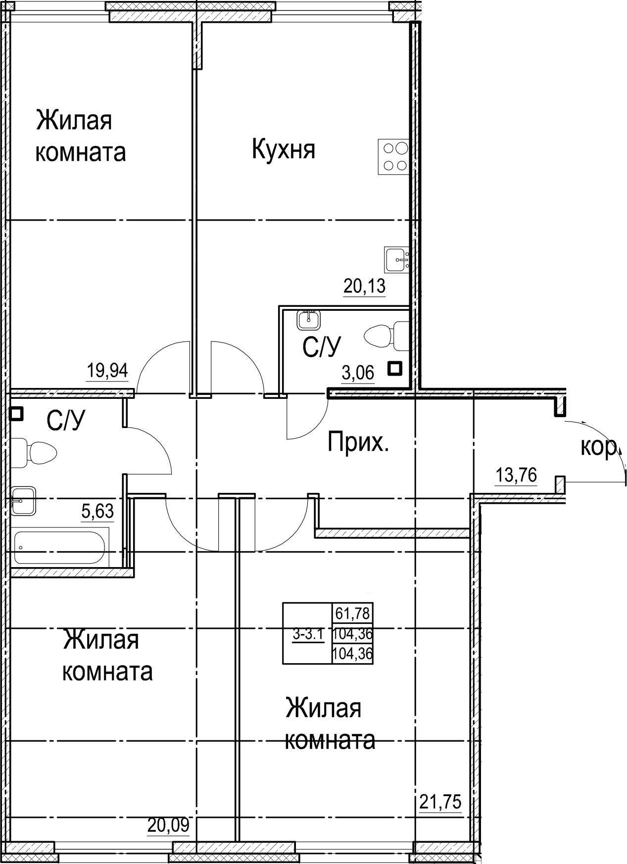 4Е-к.кв, 104.36 м²