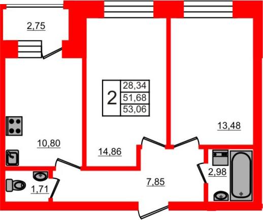 2-к.кв, 54.43 м²