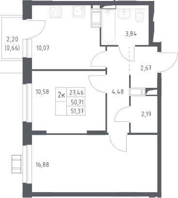 2-к.кв, 51.37 м²