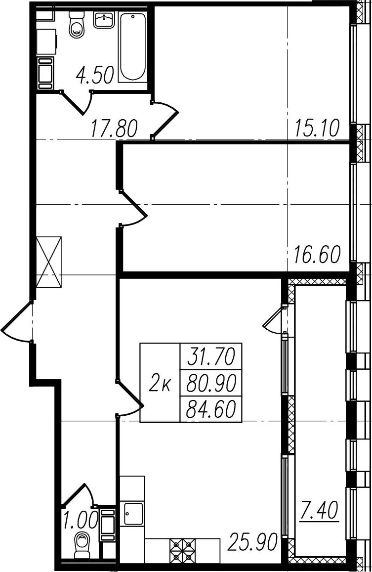 3Е-комнатная, 80.9 м²– 2