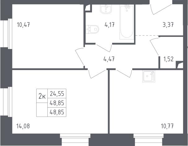 2-к.кв, 48.85 м²
