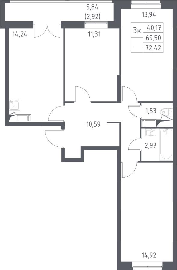 3-комнатная, 72.42 м²– 2