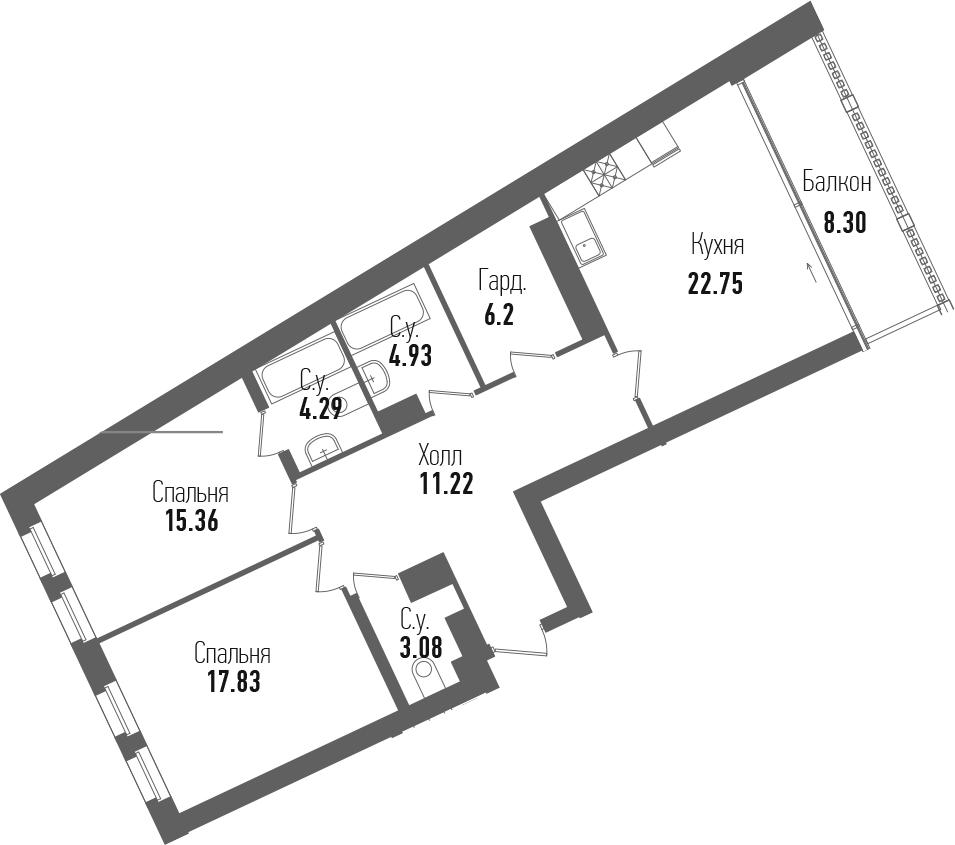 3-к.кв (евро), 93.96 м²