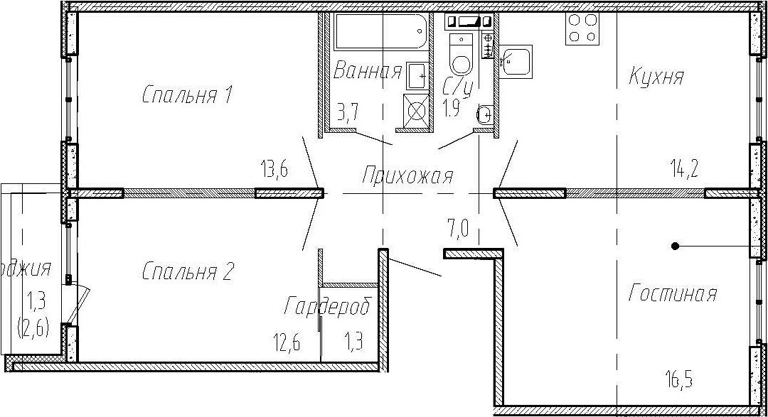 3-комнатная, 70.8 м²– 2
