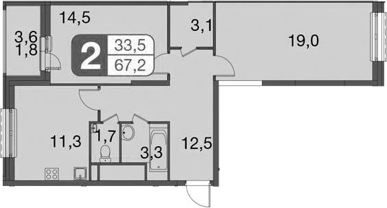 2-к.кв, 69 м²