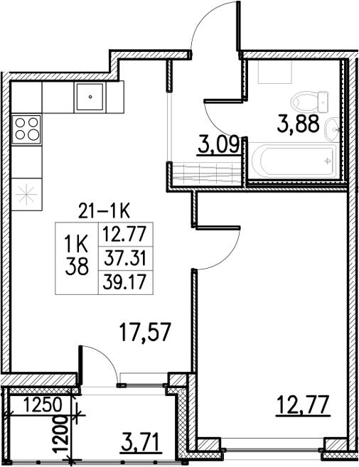 2Е-комнатная, 39.17 м²– 2