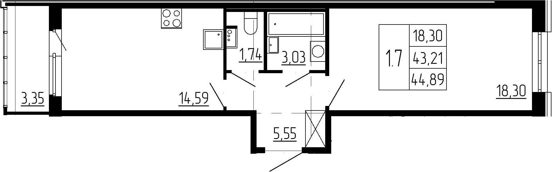 1-к.кв, 43.21 м²