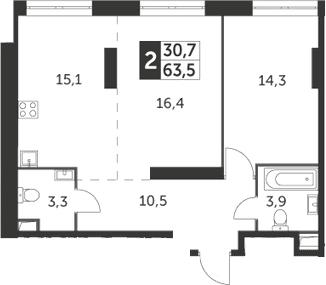 2-комнатная, 63.5 м²– 2