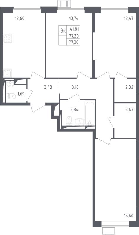3-к.кв, 77.3 м²