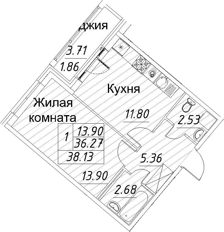 1-к.кв, 38.13 м²