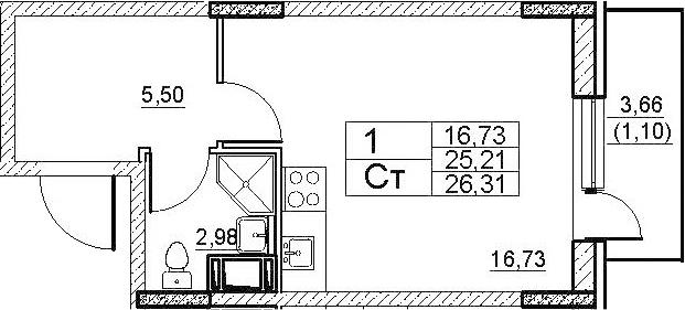 Студия, 27.41 м²