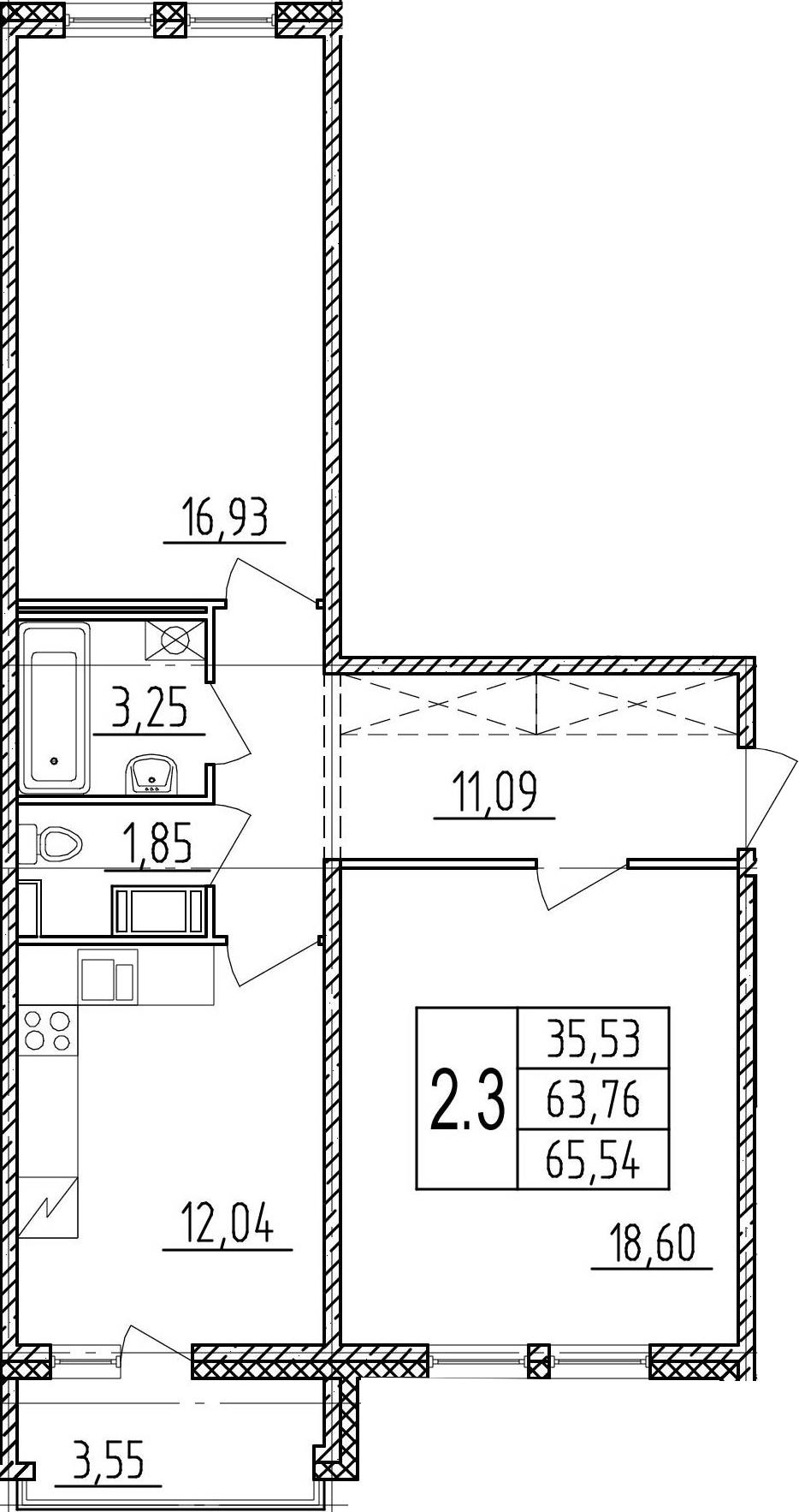 2-к.кв, 67.31 м²