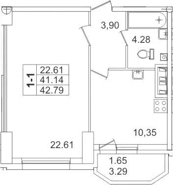 1-комнатная, 42.79 м²– 2