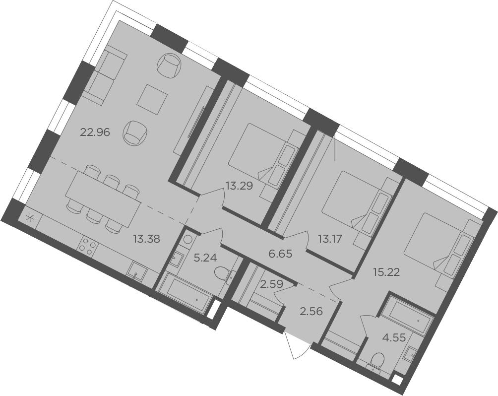 4-к.кв (евро), 99.61 м²
