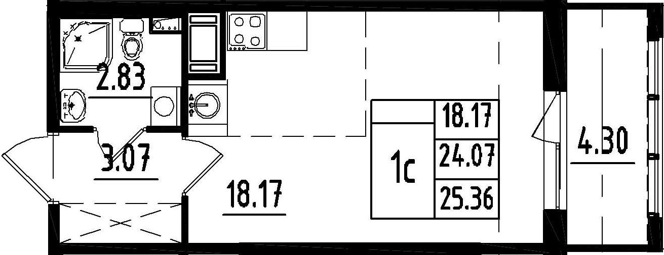 Студия, 24.07 м²– 2