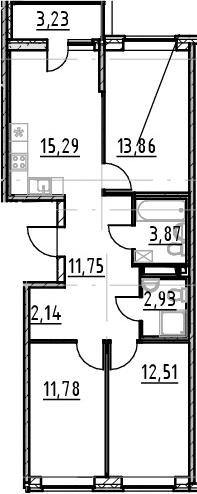 3-к.кв, 77.36 м²