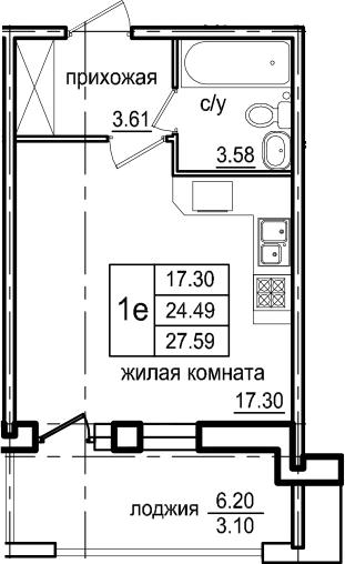 Студия, 27.59 м²– 2
