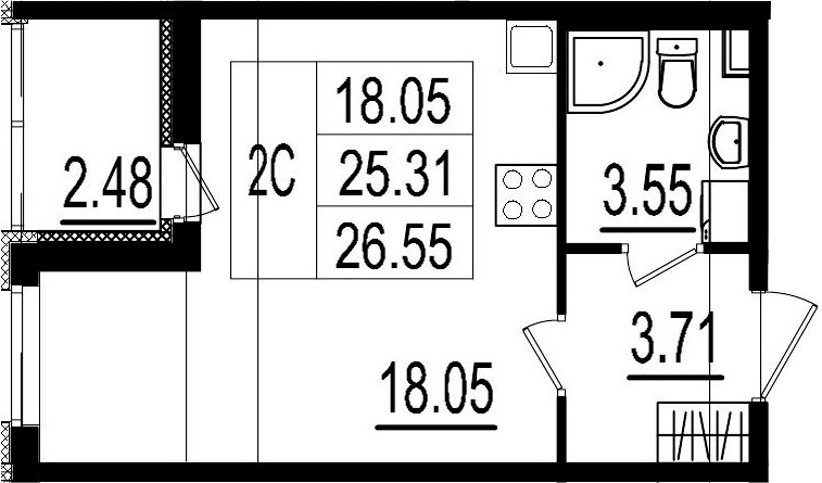 Студия, 25.31 м²