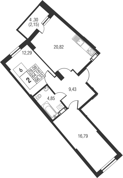 3Е-к.кв, 66.33 м², от 21 этажа