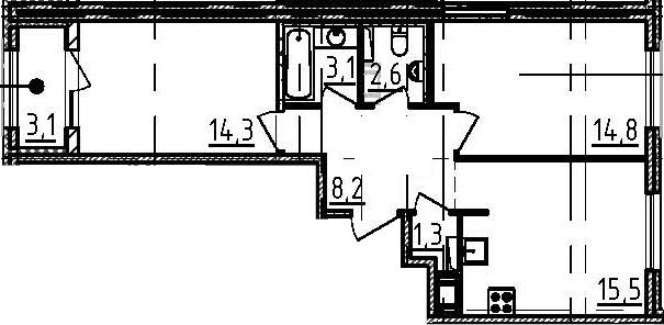 3Е-к.кв, 61.4 м²