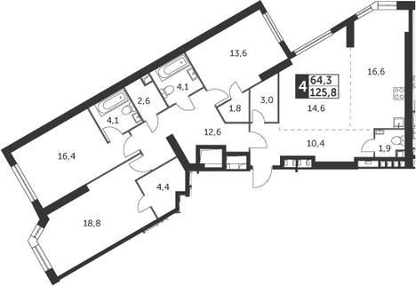 4-к.кв, 125.8 м², 43 этаж