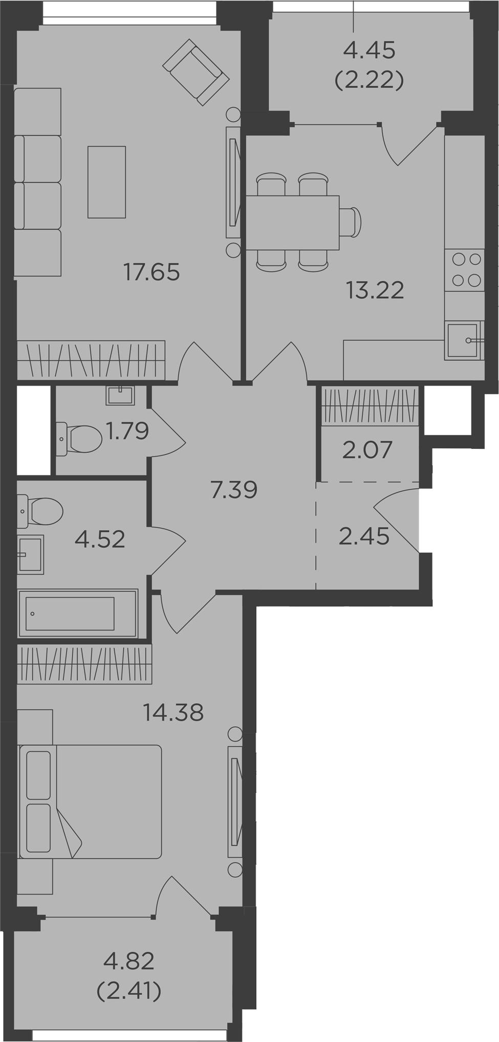 2-к.кв, 68.1 м², 9 этаж